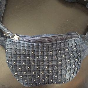 Handbags - Denim Studded Fanny Pack adjustable